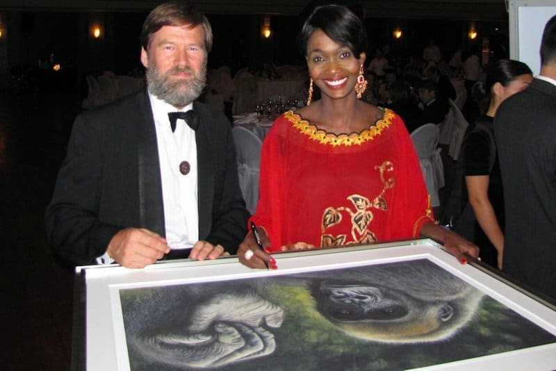 Ian Redmond and Princess Odette Autograph Gorilla Paintings